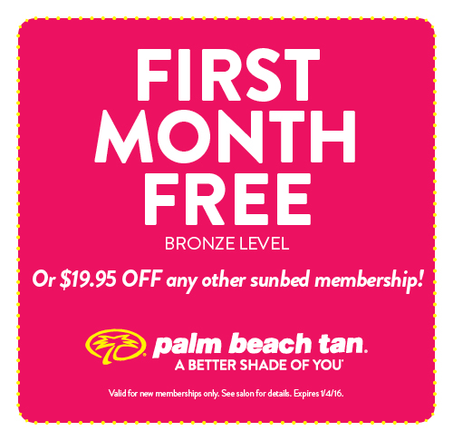 First Month Free or $19.95 off any other sunbed membership