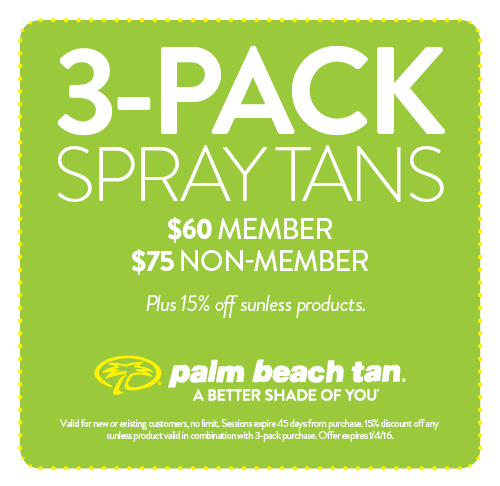 3 Pack Spray Tan Specials $60Member/$75Nonmember