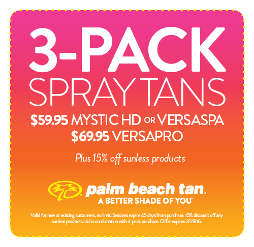 3-Pack Spray Tans $59.95/$69.96