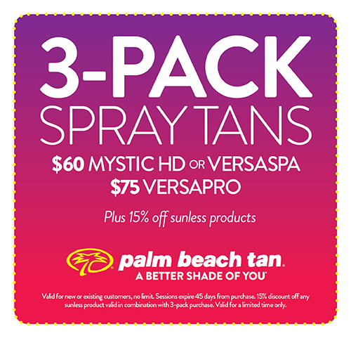 3-Pack Spray Tans $60 Mystic HD/VersaSpa or $75 VersaPro